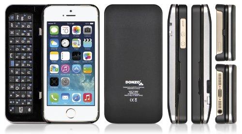 DONZO Tasche / Case inkl. Bluetooth Tastatur (deutsches Tastaturlayout, QWERTZ) für Apple iPhone 5 & iPhone 5S mit Standfunktion und Backlight - schwarz - Iphone-tastatur-case