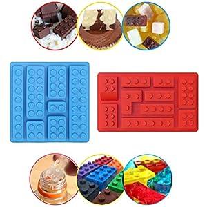 Baustein Multi-Size-Eiswürfelschale Silikonform, Süßigkeiten Formen, Schokoladenformen, für Kinderpartys und Backen Minifigur Baustein-Themen
