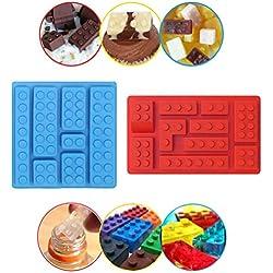 Stampo in silicone di Sunerly Building Brick Multi-Size Vassoio per cubetti di ghiaccio, Stampi per caramelle, Stampi per cioccolato, per temi per mattoncini per bambini
