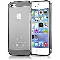 iPhone 5 5S SE Hülle Handyhülle von NICA, Ultra-Slim Silikon Case Cover Schutzhülle Dünn Durchsichtig, Handy-Tasche Backcover Transparent Bumper für Apple iPhone SE 5S 5 - Grau Transparent