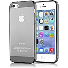 iPhone 5 5S SE Funda Carcasa de NICA, Protectora Movil Transparente TPU Silicona Ultra-Fina Gel Bumper, Goma Cubierta Delgado Clear Cover Case para Telefono Apple iPhone SE 5 5S - Gris