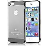 NALIA Handyhülle kompatibel mit iPhone 5 5S SE, Ultra-Slim Silikon Case Cover Schutzhülle Dünn Durchsichtig, Handy-Tasche Telefon-Schale Skin Back-Cover Etui Smart-Phone Bumper - Grau Transparent