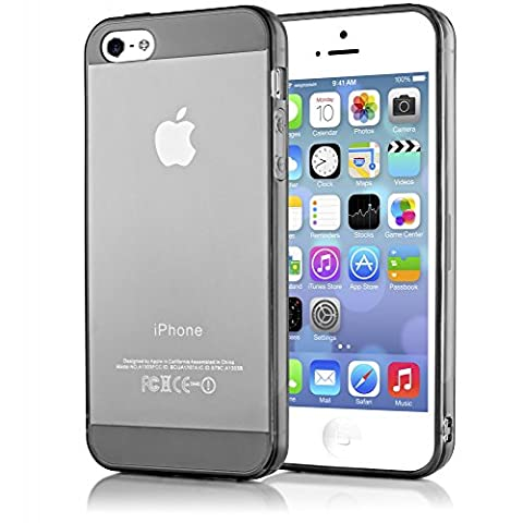 iPhone 5 5S SE Coque Silicone de NICA, Ultra-Fine Housse Protection Transparente Cover Slim Etui Résistante, Mince Telephone Portable Clear Gel Case Bumper Souple pour Apple iPhone SE 5S 5 - Gris