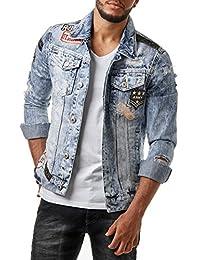 RedBridge Herren Denim Jeans Jacke Biker Destroyed Distressed Patches Slim Fit Blau M6043