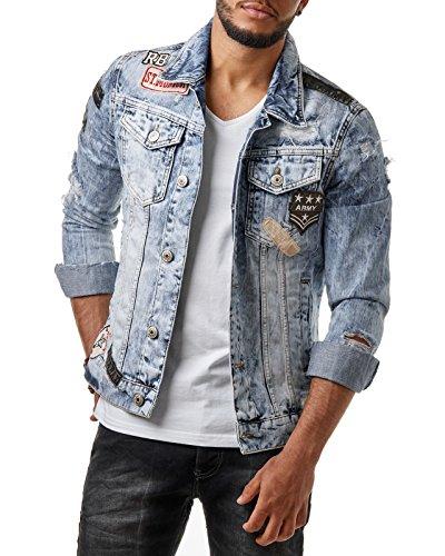 RedBridge Herren Denim Jeans Jacke Biker Destroyed Distressed Patches Slim Fit Blau M6043, Größe:XL, Farbe:Blau
