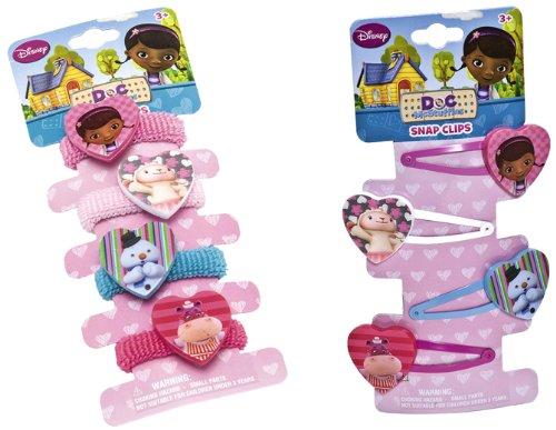 Joy Toy 116130+116066 - Disney Doc McStuffins Set - Zöpfchenhalter und Haarklippchen, je 4 Motive, 6.5 x 0.5 x 16 cm