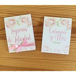 Lágrimas de Felicidad para Bodas con pañuelo. Personalizable. 50 unidades.