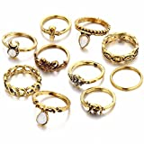 #10: Shining Diva Fashion Antique Gold Set of 10 Midi Finger Rings for Girls