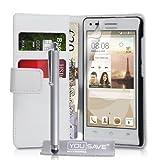 Yousave Accessories Cover Per Huawei Ascend G6 (3G Solo Modello) Custodia Portafoglio in PU Pelle Con Stilo, Bianco