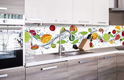 DIMEX LINE Küchenrückwand Folie selbstklebend Obst 260 x 60 cm   Klebefolie - Dekofolie - Spritzschutz für Küche   Premium QUALITÄT