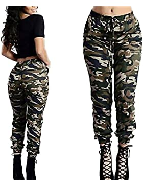 DOGZI Pantalones Mujer Cintura Alta Camuflaje Militar Impreso Ejercito Verde Pantalones de Vendaje Casual Suelto...