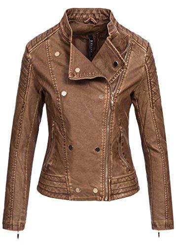 Violet Fashion Damen -  Giacca  - Camicia - Basic - Maniche lunghe  - Donna Camel Braun