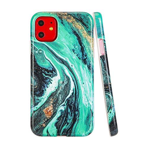 SunshineCases【Kompatibel: Apple iPhone 11】 Dünne, Ganzkörper-Schutzhülle für Damen und Mädchen, Green Galaxy Marble