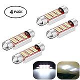 Haichen - Festone con lampadine LED, bianco, per auto, 36-41 mm, LED senza errori, 12 LED 4014 SMD, per tettuccio in vetro/lampada lettura/luce targa, confezione da 4