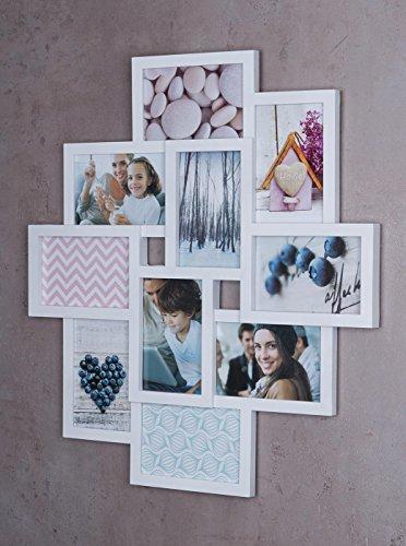 Fotocollage Bilderrahmen 55x50 mit Glasscheiben für 10 Fotos 10x15cm Weiß Fotogalerie Fotorahmen Bilderrahmen Collage