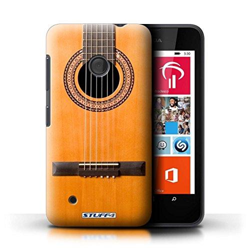 Kobalt® Imprimé Etui / Coque pour Nokia Lumia 530 / Noir Electrique conception / Série Guitare Acoustique en Bois