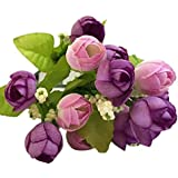 Sanysis flores artificiales, 1 X 15 cabezas Rosa de flores de seda (Púrpura)