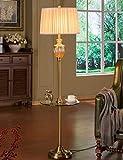 HYW Stehlampe Serie im europäischen Stil Vertikale Stoffschirm Kristallglas Stehlampe Wohnzimmer mit Couchtisch Modernes Schlafzimmer Wohnzimmer Kreative Stehlampe - Retro Stehlampe,1
