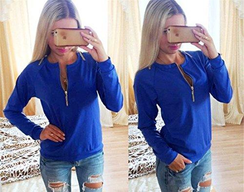 Col en V a manches longues Casual Blouse Coton Femmes en vrac Chemise solide Couleur T-shirt Bleu