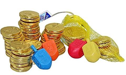 Leckere Milchschokolade Coins - Chanukka- Gelt - 24 Säcke, 4 Bunte Dreidels