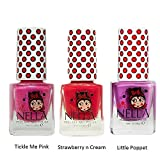 Miss Nella Little Poppet, Strawberry Cream, Tickle Me Pink Special Glitter Kids Nail Polish with Peel-off Water Based Formula by MissNella