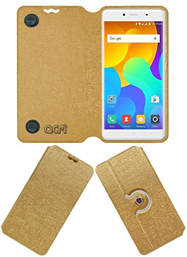 Acm Designer Rotating Flip Flap Case for Yu Yureka 2 Mobile Stand Cover Golden