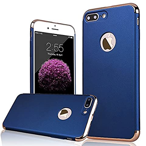 WE LOVE CASE iPhone 7 Plus Coque, 3 in 1 Étui de Protection en Premium Hard PC, Anti-rayures Housse de Mince Clair Pour iPhone 7 Plus - Bleu