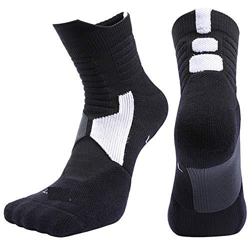 VIWIV Sportsocken, Dickes Handtuch Professionelle Atmungsaktive rutschfeste Basketball-Socken Aus Baumwolle, Geeignet Für Elite Herren Outdoor-Laufsocken (2 Paar),Schwarz