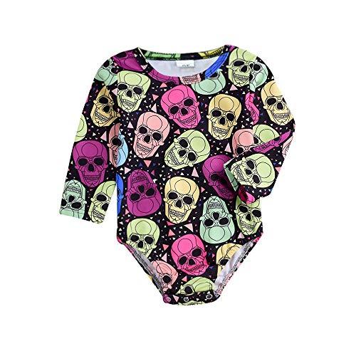 Markthym Halloween Kleinkind Baby Langarm Skull Print Strampler Infant Jumpsuit Halloween-Baby-Langarm-Robe mit Knochendruck (Skull Plaid Kostüm)