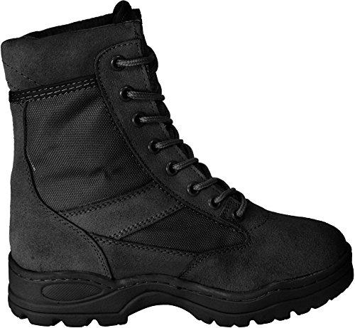 Outdoor Stiefel mit 8 Loch Schnürung Schwarz
