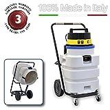 EOLO ASPIRATORE ASPIRALIQUIDI ASPIRAPOLVERI ASPIRASOLIDI INDUSTRIALE CON FUSTO ANTIACIDO completo di accessori LP30 (90 litri) MADE IN ITALY