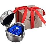 Kapmore Rose éternelle, Rose Fleur éternel Boîte de bague Avec une Belle Boîte-cadeau Comme Cadeau d'anniversaire de Fête des Mères de Noël ou Cadeau de Fête Pour Maman, Fille ou Amant(Bleu)