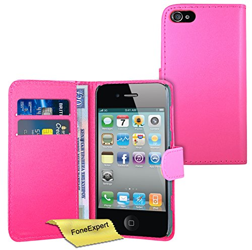 FoneExpert® Apple iPhone 4s 4 - Etui Housse Coque en Cuir Portefeuille Wallet Case Cover pour Apple iPhone 4s 4 + Film de Protection d'Ecran (Pourpre) Rose