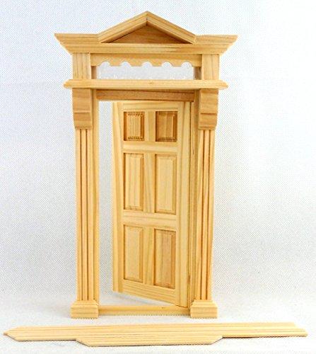 Melody Jane Casa Delle Bambole Vittoriano Front Porta D'ingresso 6 Panel con piano Luce Di legno 1:12