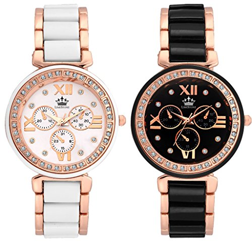 LimeStone LA Magnifique Round Casual Analog Metal Strap Multicolour Dial Women\'s / Girl\'s Watches Combo (Pack of 2)
