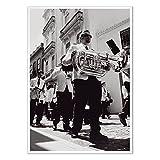 Wandposter Schwarz weiß | Premium Poster | Modernes Fotoposter - Individuelles Wandbild für Wohnzimmer und Schlafzimmer | Home Deko - Made in Germany | Poster 50 x 70 cm - Motiv Jazz Baby