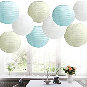 Time to Sparkle TtS 1/5/10pcs Round Paper Lanterns Lamp Shade Wedding Decoration 20/25/30/35/40/45CM by Touch Global Ltd