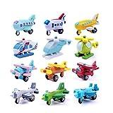 MS Viele 12st Mini-Holz-Flugzeug Verschiedene Farben Flugzeuge Hubschrauber Spielzeug Geschenk CJ490