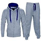 Vertvie Herren Trainingsanzug Sweatjacke Hose Sportbekleidung Jogging Fitnessanzug Pullover Anzug(Hellgraues Blau, M)