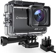 Crosstour Action Cam CT9500, 4K/50FPS 20MP WiFi EIS Stabilizzata Videocamera, Fotocamere Subacque Impermeabile
