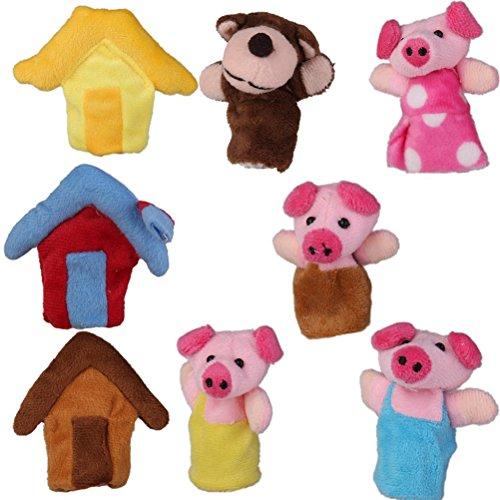 Leorx peluche finger Puppets dito giocattoli, confezione da 8