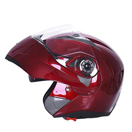 Hjuns Motorradhelm Integralhelme mit Visier - für Offroad/Enduro/Touring Sport (L, Red) - 5