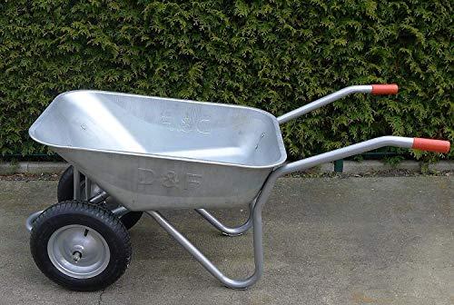 Schubkarre mit 2 Rädern, 100L, Stahl, robust, Beschichtet, Luftreifen mit Stahlfelge - 2
