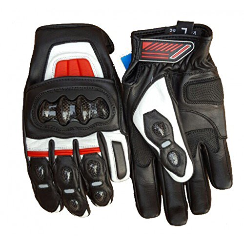 Bikers Gear Australia corto estilo CF63 piel Kevlar Knucle Motorcycle Racing – Guantes, color rojo/negro,...