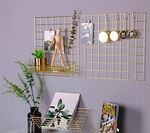 ns Metall Mesh-Gitter Panel, Wall Decor/Foto/Art Wand Display & Organizer, dekoratives Rack Clip Foto Wand aufhängen Bild Wand, Größe: 45 x 95 cm Gold Farbe, gold, 17.7