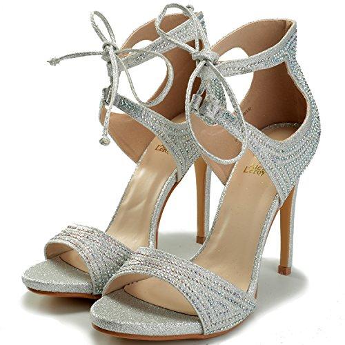 Sandali eleganti argentati con punta aperta per donna aHsiqVw
