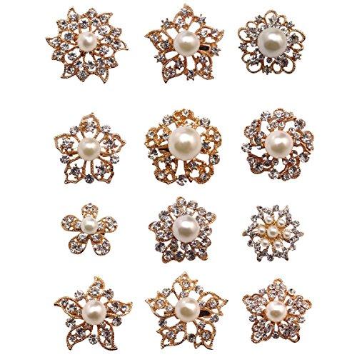 keland 12 stücke Mix Set Perle Kristall Broschen Brosche Pins Hochzeit Corsage Braut Bouquet Kit DIY Großhandel Lot (Gold)