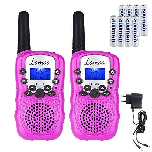 Lomoo Talkies-Walkies pour Enfants Deux Voies Radio 0.5W 8 Canaux Portée 3KM Ecran LCD Lampe Torch VOX Auto Scan Exploration Jouet d'enfant - (avec Batteries et Chargeur) (1 Paire, Rose)