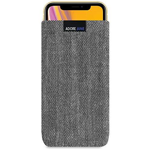 Adore June Business Tasche für Apple iPhone XR Handytasche aus charakteristischem Fischgrat Stoff - Grau/Schwarz | Schutztasche Zubehör mit Display Reinigungs-Effekt | Made in Europe