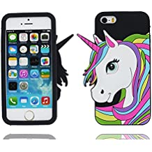 iPhone 5 Custodia, Copertura Premium TPU Nuovo design durevole Prezzo basso in iPhone 5S case 3D Unicorno per iPhone 5 5s SE 5C 5G ( Nero )